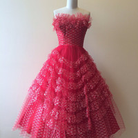1950s Dress - Vintage 50s Dress - Red Silver Cupcake Wedding Party Prom Dress S - Frills and Thrills