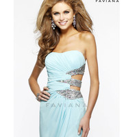 (PRE-ORDER) Faviana 2014 Prom Dresses - Aqua Ruched Chiffon & Sequin Cut Out Prom Gown