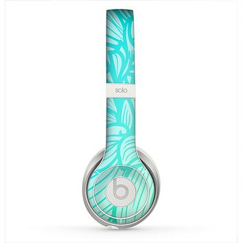 The Faded Blue & Green Subtle Floral Skin for the Beats by Dre Solo 2 Headphones