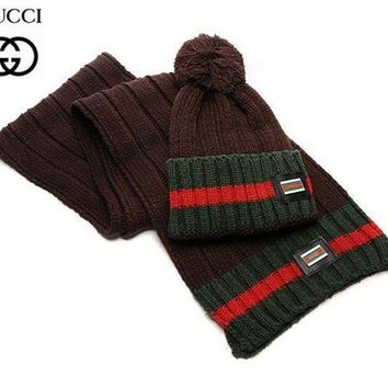 One-nice™ Gucci Women Winter Knit Warmer Hat Cap Scarf Set Coffee I