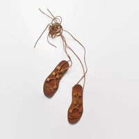 Vintage 70s SANDALS / 1970s Brown Leather Boho Lace Up Gladiator Flat Sandals 6 1/2