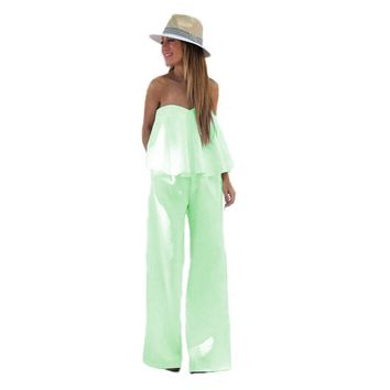Solid Strapless Tube Ruffled Wide Leg Flare Jumpsuit