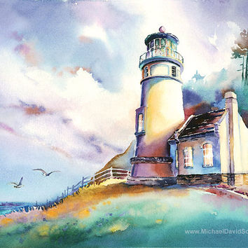 Heceta Head Light Oregon Coast Watercolor Painting Print. Oregon Lighthouse Art. Colorful Watercolor. Pacific Northwest Artwork. Turquoise..