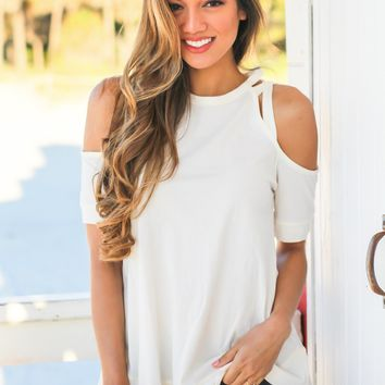 Ivory Cold Shoulder Cut Out Top