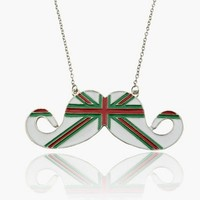 British Themed Mustache Necklace Green and Red
