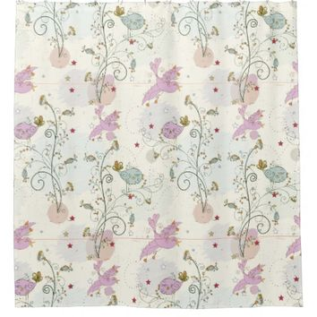 Whimsical Bird Pattern Shower Curtain