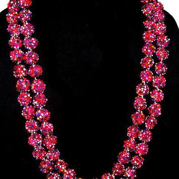 """Blackberry Sugar Bead Necklace Signed Japan Double Strand Gold Clap 22"""" Vintage"""
