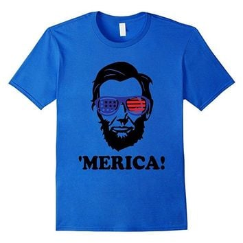 Abe Lincoln 'merica T-Shirts - Men's Crew Neck Novelty Top Tees