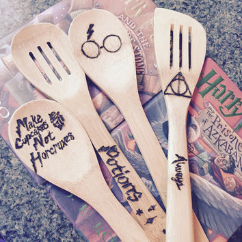 Custom Harry Potter Wood Burned Spoons