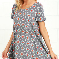 Glamorous Light-Hearted Grey Print Babydoll Dress