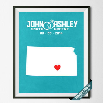 Wedding, Print, Kansas, Customized, Anniversary, Couple, Personalized, Gift, Map, Custom, Wall Art, Home Decor, Marriage, Love [NO 15]