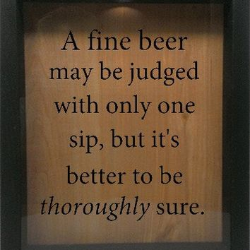 "Wooden Shadow Box Wine Cork/Bottle Cap Holder 9""x11"" - A Fine Beer May Be Judged With"
