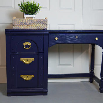 Modern Blue Desk / writing desk / navy blue desk