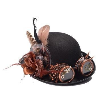 Steampunk Hat Bowler Feathers Gear Glasses Gothic Victorian Cosplay Fedora Top Heawear