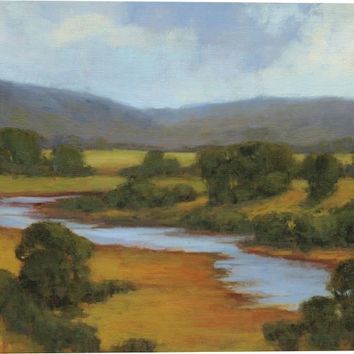 River Overlook II Landscape Canvas Wall Art Print by Kim Coulter