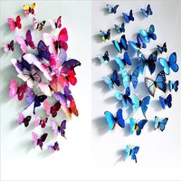 3D PVC Butterfly Wall Stickers Home Decor Butterfly Wall Decals For Kids Room