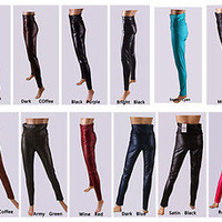 10 colors Punk Style Faux Leather High Waist Leggings Pants L/M/S/XS new arrival
