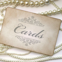 Wedding Sign, Cards Birdcage Sign, Silver Cards Sign, Grey Wedding Sign, Vintage Cards Sign, Guest Book Sign, Sign Our Guest Book
