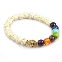 White Turquoise 7 Chakras Healing Balance Gold Buddha Bracelet Men Women 8mm Beads Yoga Reiki Prayer Bangle Handmade DIY Jewelry