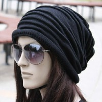 Unisex Beauty Casual Hat Winter Ski Warm Knit Cap Skull Oversize Baggy Beanie