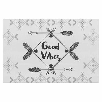 "Famenxt ""Boho Good Vibes"" Black Gray Decorative Door Mat"