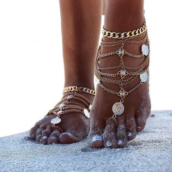 Moonso Bohemian Punk Retro Wind Metal Multi Layer Coin Tassel Wedding Barefoot Beach Leg Bracelet Women To Ankle Chain 4354