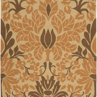 Rust Orange & Brown Damask Rain Hand-Hooked Rug
