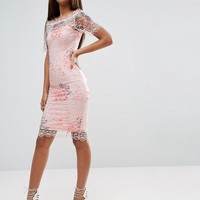 Paper Dolls Tall Bardot Cutwork Lace Pencil Dress With Floral Print at asos.com