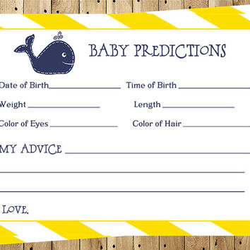 Baby Shower Predictions Cards, Unisex, Yellow, Navy, Stripes, Dots, Whale, Set of 24 Printed Cards, FREE Ship, WHLAW, Little Squirt Neutral