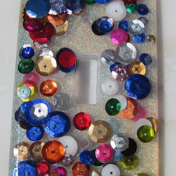 Multi Colored Sequin Light switch cover - Switchplate - Craft Room - Sparkle - Girls Bedroom