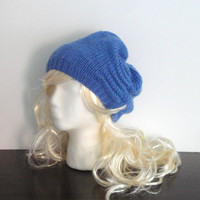 Blue Scrunch Hat, Slouch, Chunky, Hand Knit Merino Wool, Gathered Hat, Scrunched