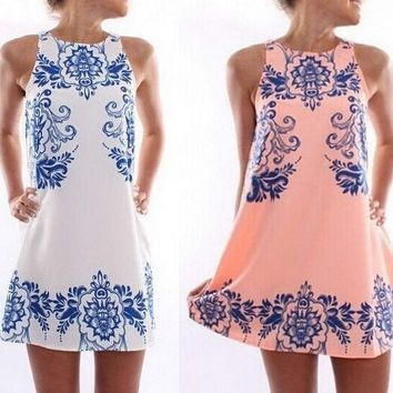 ® Lady Women's Sleeveless Flower Printed Casual Mini Dress