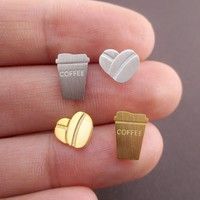 Coffee Cup and Coffee Beans Shaped Lazy Mornings Allergy Free Stud Earrings
