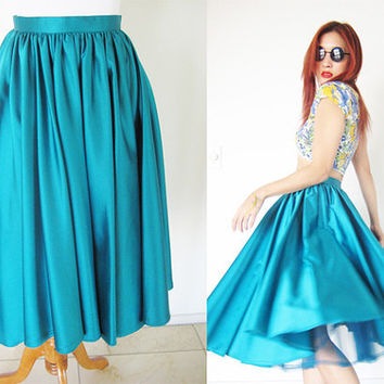 Vintage 60's 70's full skirt lucy swing pinup mad men dolly rockabilly green jewel Victor Costa