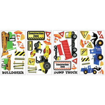 Roommates Decor Sticker Construction Trucks Wall Decals