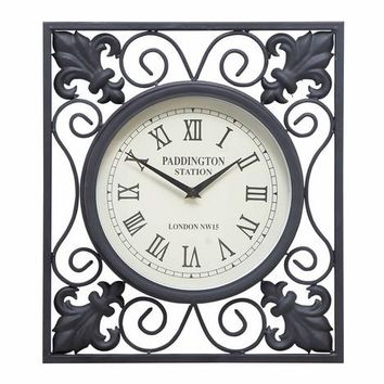 Benzara 35415 Metal Outdoor Wall Clock- Clock And Wall decor