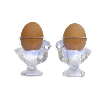 French Glass Chicken Egg Cups. French Country Kitchen Decor. Glass Hen. Chicken Decor.