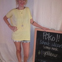 Yellow Short Sleeve Scoop Neck Piko Shirt On Sale | Overstock Boutiques