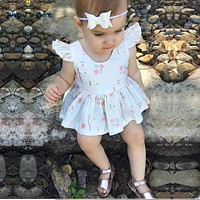 Baby Girl Dress Newborn printing floral Cotton Dress Infant Child Dress Baby Clothes