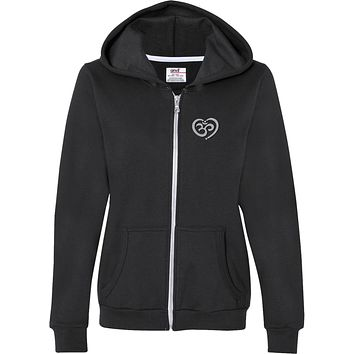 OM Heart Pocket Print Full-Zip Hooded Yoga Sweatshirt