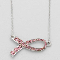 Breast Cancer Necklace Silver
