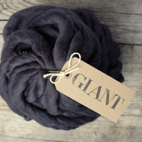 "MERINO - Handspun Yarn - 10,5 oz / 300gr -Blanket Yarn- Super Chunky Yarn ""GRAPHITE"""
