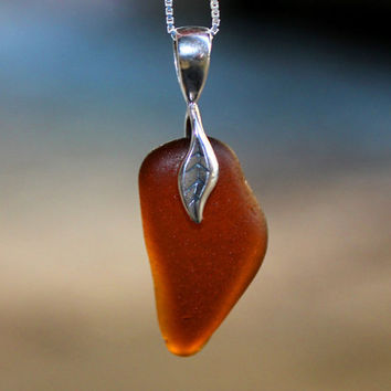 Amber Seaglass Necklace Teardrop shaped on by SeaglassReinvented