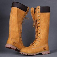 Timberland Rhubarb boots for Women Fashion Lace-Up Waterproof Leather Boots Shoes Brown G