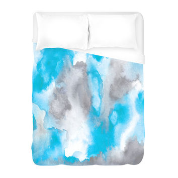 Water Color Clouds Duvet Cover