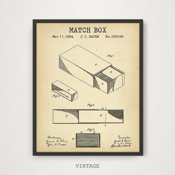 Matchbox Patent Print, Digital Download, Cigarette Lighter Print, Cigar Lounge Decor, Vintage Matchbox Blueprint, Kitchen Decor Matchbox Art