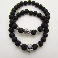 2Pcs New Fashion 8mm Natural Lava Stone Bead Bracelet Antique Silver Buddha Skull Bracelet Yoga Jewelry Gift Womens Men Bracelet