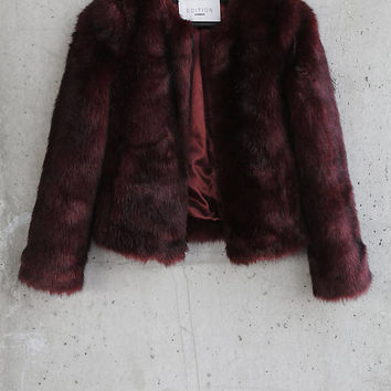 Red Express Edition Faux Fur Chubby Jacket from EXPRESS