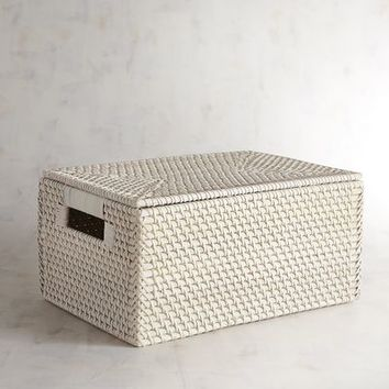 Lombok White Medium Wicker Lidded Basket