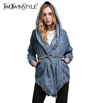 [TWOTWINSTYLE] Spring Lace Up Hooded Windbreaker Women Jean Denim Basic Coats Female Jacket for Women Long Sleeves Cardigan New